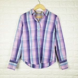 Robert Graham Pastel Plaid Button Up Shirt Size M